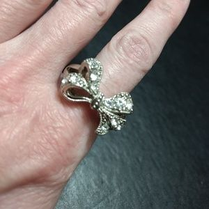 Silver tone bow ring